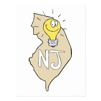 New Jersey NJ Map with funny Light Bulb Cartoon Postcard