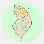 New Jersey NJ Map with funny Light Bulb Cartoon Sticker