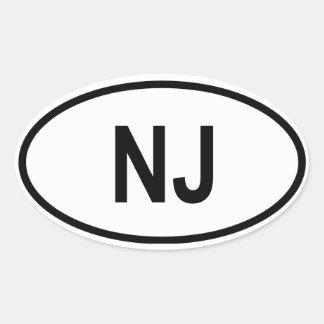 "New Jersey ""NJ"" Oval Sticker"