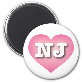 New Jersey NJ pink fade heart 2 Inch Round Magnet