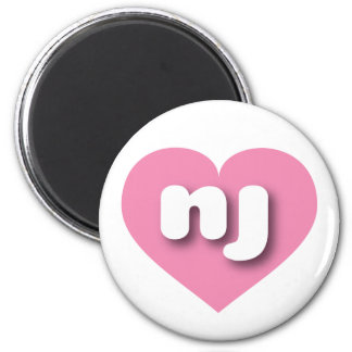 New Jersey nj pink heart 2 Inch Round Magnet