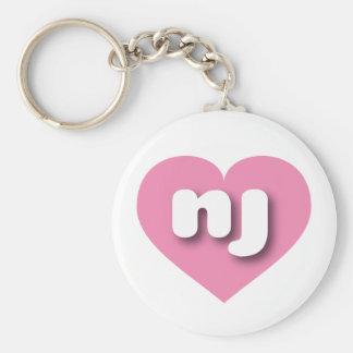 New Jersey nj pink heart Basic Round Button Keychain