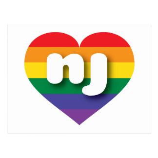 New Jersey nj rainbow pride heart Post Card