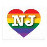 New Jersey NJ rainbow pride heart Postcard