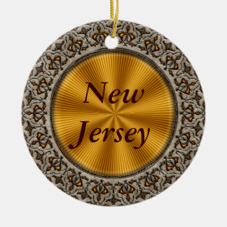New Jersey Double-Sided Ceramic Round Christmas Ornament