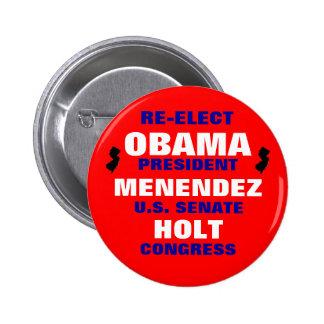 New Jersey para Obama Menéndez Holt Pin Redondo De 2 Pulgadas