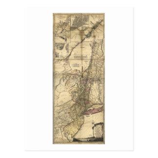 New Jersey Pennsylvania New York Map (1777) Postcard