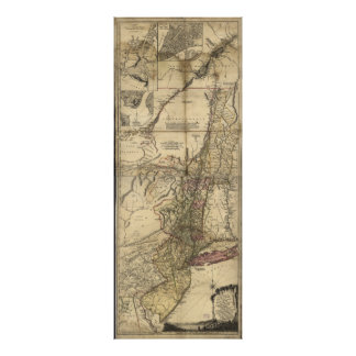 New Jersey Pennsylvania New York Map (1777) Poster