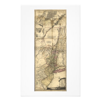 New Jersey Pennsylvania New York Map (1777) Stationery