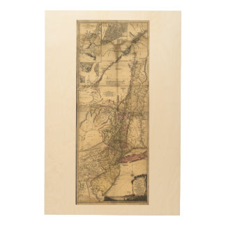 New Jersey Pennsylvania New York Map (1777) Wood Print