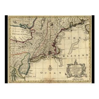 New Jersey Pennsylvania New York New England 1752 Postcard
