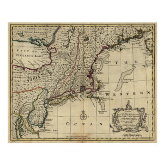 New Jersey Pennsylvania New York New England 1752 Poster