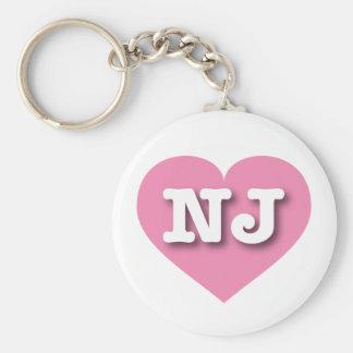New Jersey Pink Heart - Big Love Basic Round Button Keychain