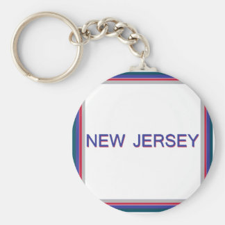 New Jersey Quad White, Blue, Red Keychain