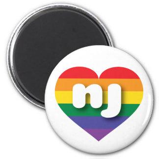 New Jersey rainbow pride heart - mini love 2 Inch Round Magnet