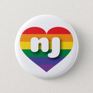 New Jersey rainbow pride heart - mini love Button