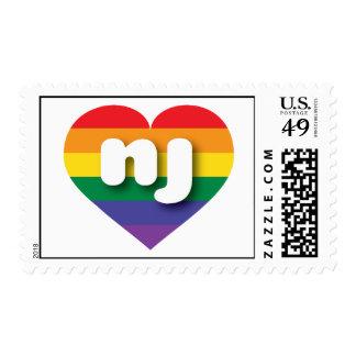 New Jersey rainbow pride heart - mini love Postage