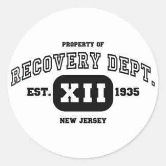 NEW JERSEY Recovery Classic Round Sticker
