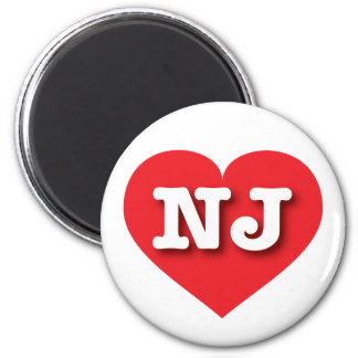 New Jersey red heart - Big Love 2 Inch Round Magnet