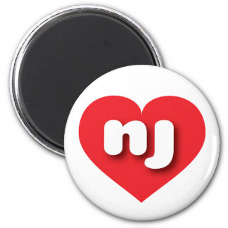 new jersey red heart - mini love 2 inch round magnet