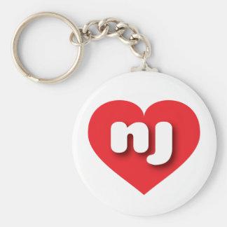 new jersey red heart - mini love basic round button keychain