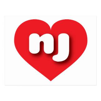 New Jersey red heart - mini love Postcard