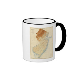 New Jersey Relief Map Ringer Coffee Mug
