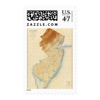 New Jersey Relief Map Postage Stamp