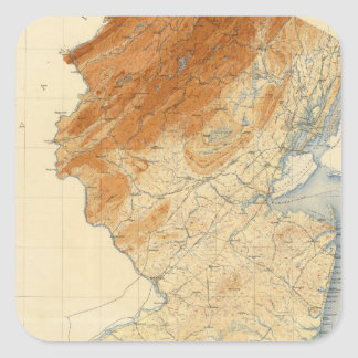 New Jersey Relief Map Square Sticker