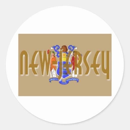 New Jersey Round Stickers
