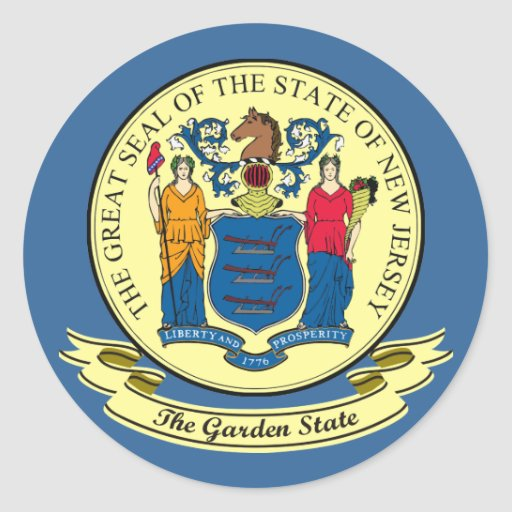 New Jersey Seal Round Stickers