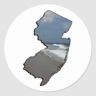 New Jersey Shore State Outline Classic Round Sticker