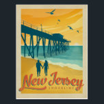 """New Jersey Shoreline Postcard<br><div class=""""desc"""">Anderson Design Group is an award-winning illustration and design firm in Nashville,  Tennessee. Founder Joel Anderson directs a team of talented artists to create original poster art that looks like classic vintage advertising prints from the 1920s to the 1960s.</div>"""