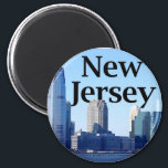 """New Jersey Skyline with New Jersey in the Sky Magnet<br><div class=""""desc"""">New Jersey Skyline with New Jersey in the Sky.  Photo Credit: Dave Hamster - http://www.flickr.com/photos/davehamster/</div>"""