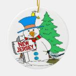 New Jersey Snowman Christmas Tree Ornament