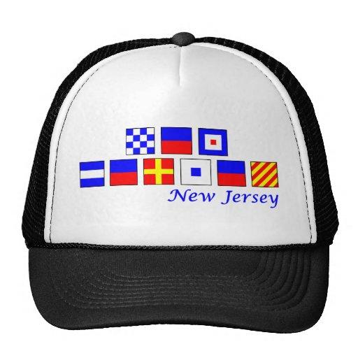 New Jersey spelled in nautical flag alphabet Trucker Hat