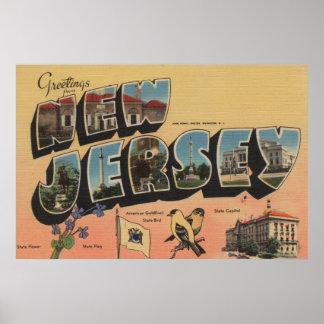 New Jersey (State Capital/Flower/Bird) Poster