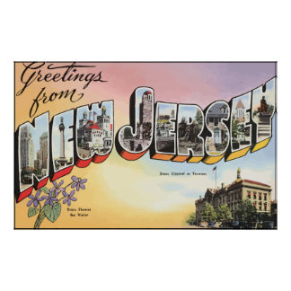 New Jersey State Capital In Teenion, Vintage Poster