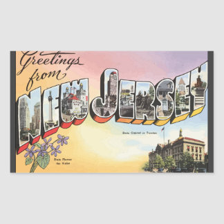 New Jersey State Capital In Teenion, Vintage Sticker
