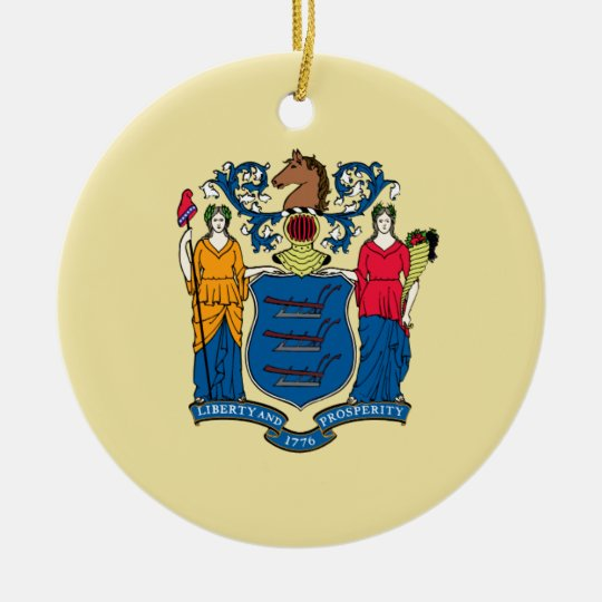New Jersey State Flag Ceramic Ornament