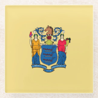 New Jersey State Flag Design Decor Glass Coaster