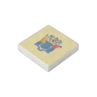 New Jersey State Flag Stone Magnet