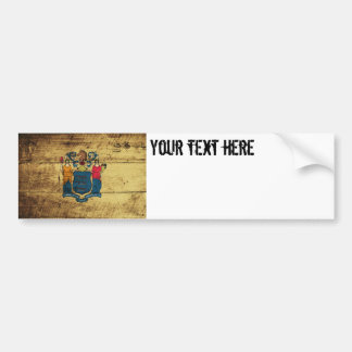 New Jersey State Flag on Old Wood Grain Bumper Sticker