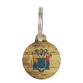 New Jersey State Flag on Old Wood Grain Pet Nametag