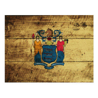 New Jersey State Flag on Old Wood Grain Postcard