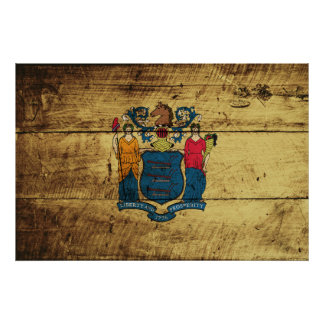 New Jersey State Flag on Old Wood Grain Poster