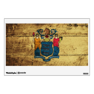 New Jersey State Flag on Old Wood Grain Wall Skin