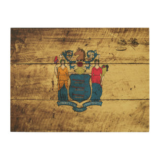 New Jersey State Flag on Old Wood Grain Wood Canvases