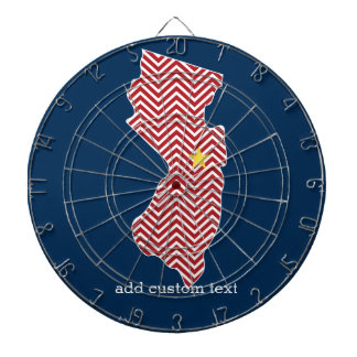New Jersey State Map with Custom City and Name Dartboard