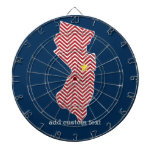 New Jersey State Map with Custom City and Name Dartboard With Darts